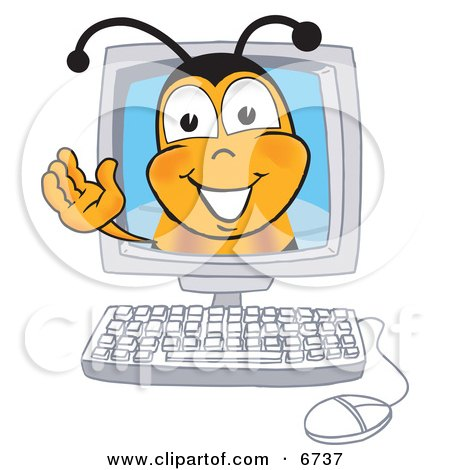 Clipart Picture of a Bee Mascot Cartoon Character in a Computer Monitor, Waving by Toons4Biz