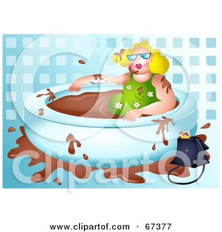 Royalty-Free (RF) Clipart Illustration of a Blond Lady Soaking In A Chocolate Bath by Prawny