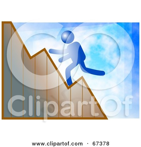 Royalty-Free (RF) Clipart Illustration of a Blue Man Running Up A Graph, On A Blue Background by Prawny