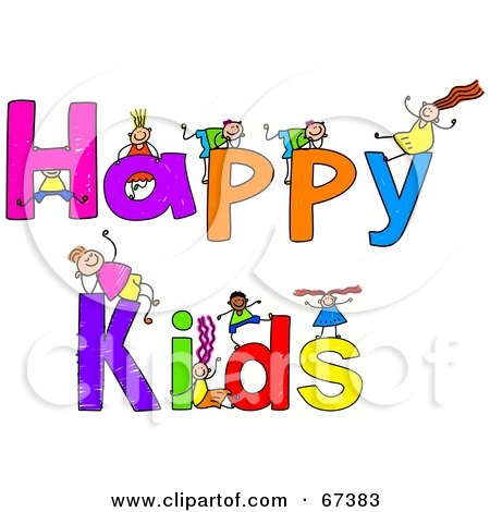 Royalty-free clipart picture of children with HAPPY KIDS text,