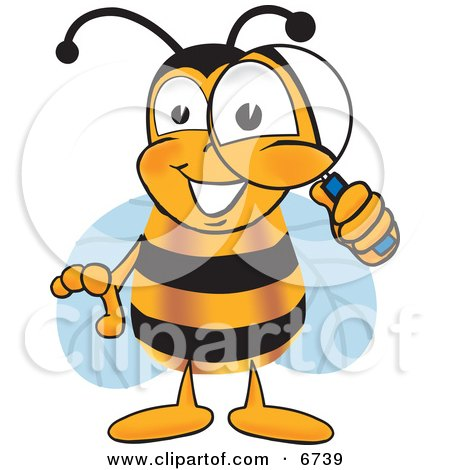 Clipart Picture of a Bee Mascot Cartoon Character Peeking Through a Magnifying Glass by Toons4Biz