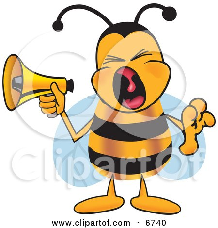 Clipart Picture of a Bee Mascot Cartoon Character Screaming Into a Megaphone by Toons4Biz