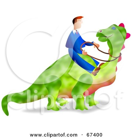Royalty-Free (RF) Clipart Illustration of a Businessman Riding A Green Dinosaur Over White by Prawny
