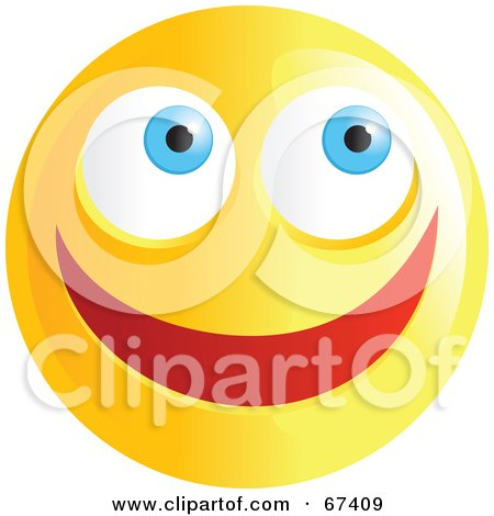 Royalty-Free (RF) Clipart Illustration of an Ecstatic Yellow Emoticon Face - Version 1 by Prawny