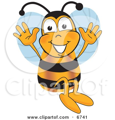 Clipart Picture of a Bee Mascot Cartoon Character Jumping With His Arms Up by Toons4Biz