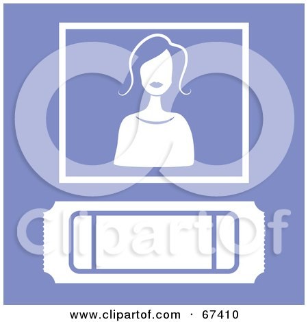 Royalty-Free (RF) Clipart Illustration of a White Ticket Stub And Woman On Purple by Prawny