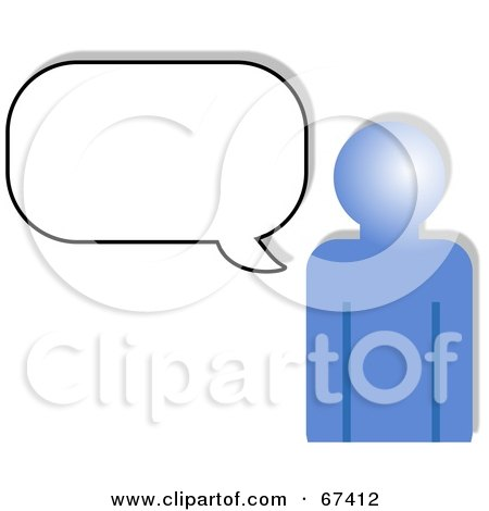 Royalty-Free (RF) Clipart Illustration of a Blue Person Outline With A Blank Chat Box by Prawny
