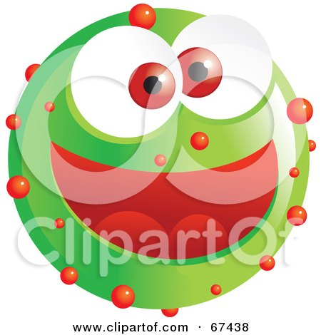 Royalty-Free (RF) Clipart Illustration of a Speckled Green Emoticon Face by Prawny
