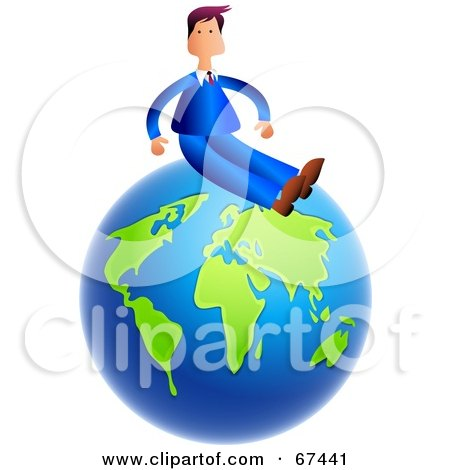 Royalty-Free (RF) Clipart Illustration of a Businessman Sitting On Top Of A Blue And Green Globe by Prawny