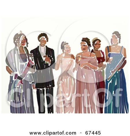 Royalty-Free (RF) Clipart Illustration of Teen Girls In Their Prom Dresses With A Man by Prawny