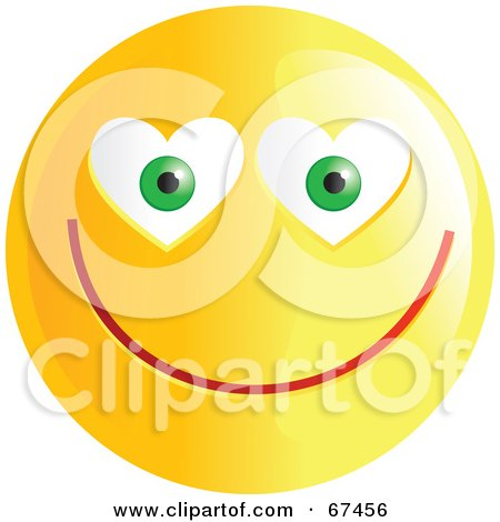 Royalty-Free (RF) Clipart Illustration of an Amorous Yellow Emoticon Face - Version 3 by Prawny
