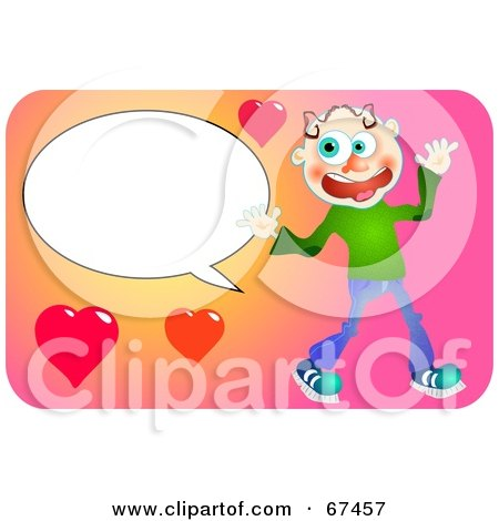 Royalty-Free (RF) Clipart Illustration of a Happy Man With A Text Balloon And Hearts by Prawny
