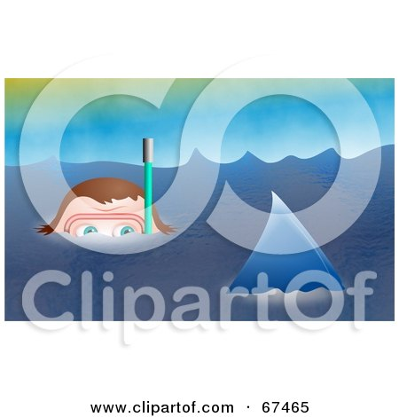 Royalty-Free (RF) Clipart Illustration of a Frightened Snorkeler Watching A Shark Fin Pass by Prawny