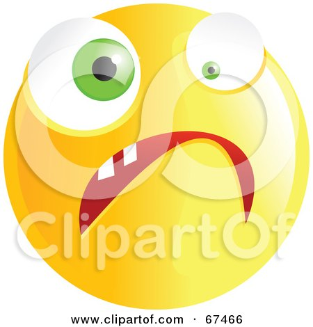 Royalty-Free (RF) Clipart Illustration of a Yellow Nervous Emoticon Face - Version 2 by Prawny