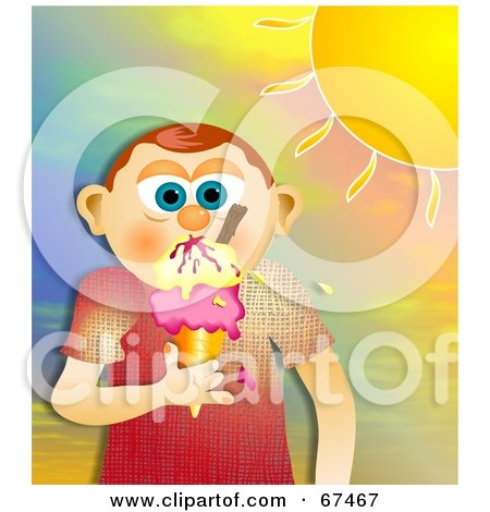 Royalty-Free (RF) Clipart Illustration of a Little Boy Eating Melting Ice Cream On A Cone Under A Hot Sun by Prawny