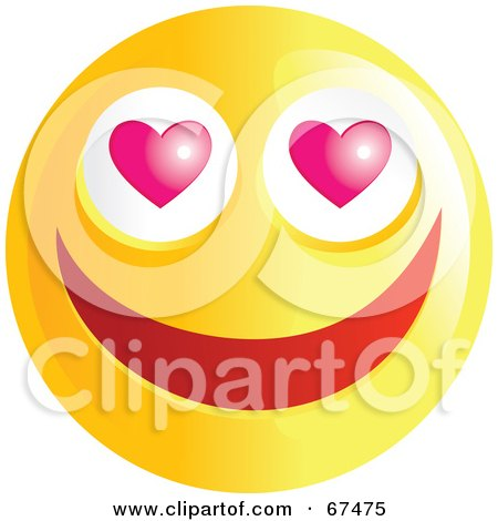 Royalty-Free (RF) Clipart Illustration of an Amorous Yellow Emoticon Face - Version 1 by Prawny