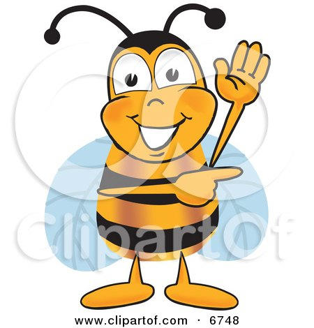 Clipart Picture of a Bee Mascot Cartoon Character Waving and Pointing to the Right by Toons4Biz