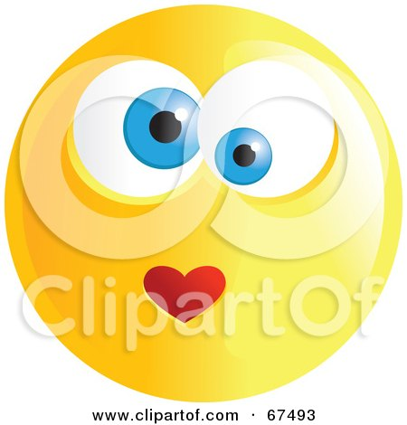 Royalty-Free (RF) Clipart Illustration of an Amorous Yellow Emoticon Face - Version 4 by Prawny