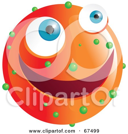 Royalty-Free (RF) Clipart Illustration of a Speckled Orange Emoticon Face by Prawny