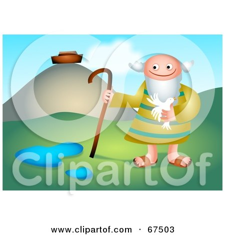Royalty-Free (RF) Clipart Illustration of Noah Holding A Bird Near His Ark by Prawny