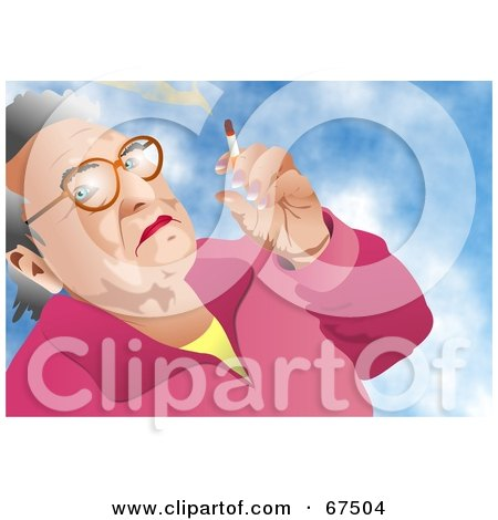 Royalty-Free (RF) Clipart Illustration of an Old Woman Smoking A Cigarette Against A Sky by Prawny