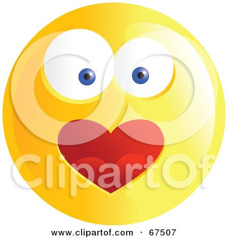 Royalty-Free (RF) Clipart Illustration of an Amorous Yellow Emoticon Face - Version 2 by Prawny