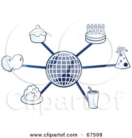 Royalty-Free (RF) Clipart Illustration of a Blue Molecule Party Globe by Prawny