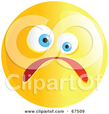 Royalty-Free (RF) Clipart Illustration of a Yellow Nervous Emoticon Face - Version 1 by Prawny