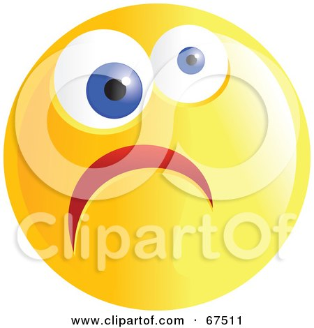 Royalty-Free (RF) Clipart Illustration of a Yellow Nervous Emoticon Face - Version 3 by Prawny