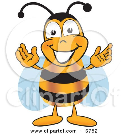 Bee Mascot Cartoon Character Greeting With Open Arms Posters, Art Prints