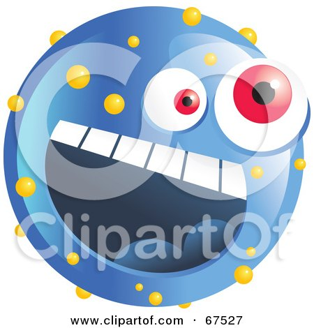 Royalty-Free (RF) Clipart Illustration of a Speckled Blue Emoticon Face by Prawny