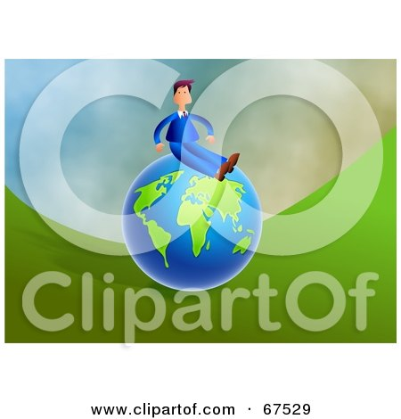 Royalty-Free (RF) Clipart Illustration of a Successful Businessman Sitting On Top Of A Blue And Green Globe by Prawny