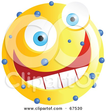 Royalty-Free (RF) Clipart Illustration of a Speckled Yellow Emoticon Face by Prawny