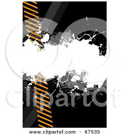 Royalty-Free (RF) Clipart Illustration of a White And Gray Splatter Over Orange Hazard Stripes On Black by Arena Creative