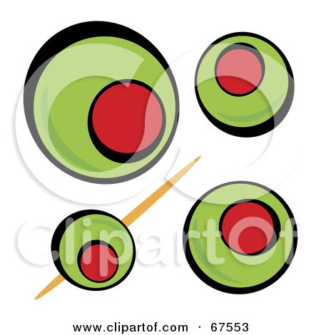 Royalty-Free (RF) Clipart Illustration of a Background Of Green Olives On White by Arena Creative
