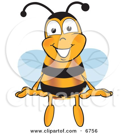 Clipart Picture of a Bee Mascot Cartoon Character Sitting by Toons4Biz