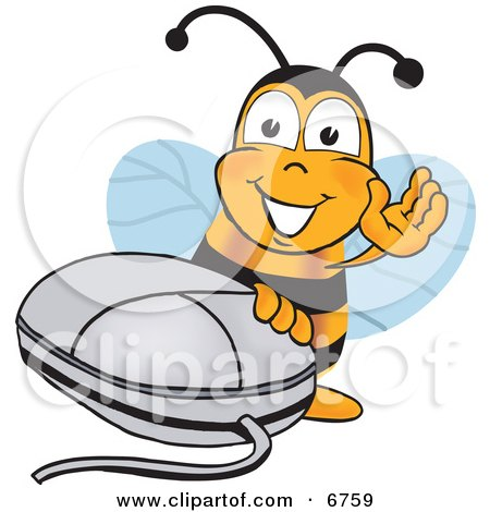 Clipart Picture of a Bee Mascot Cartoon Character With a Computer Mouse by Toons4Biz