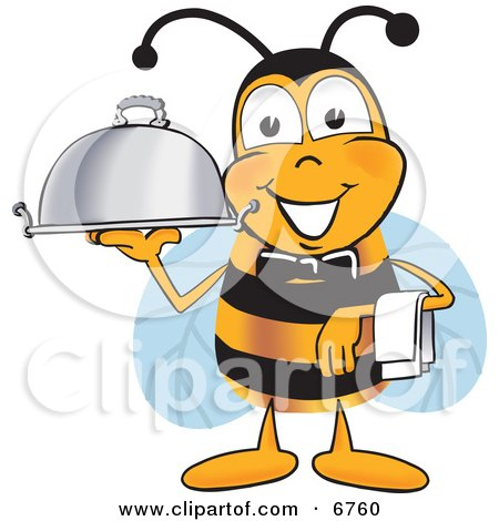 Clipart Picture of a Bee Mascot Cartoon Character Dressed as a Servant, Carrying a Food Platter by Toons4Biz