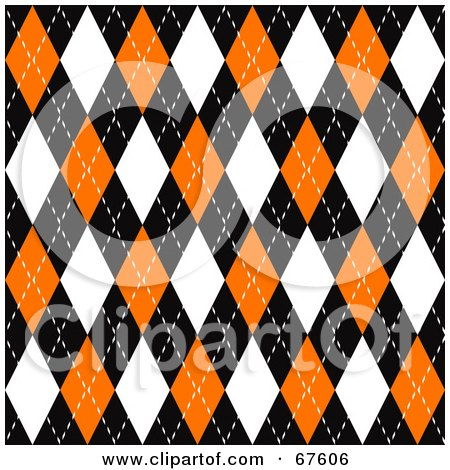 Royalty-Free (RF) Clipart Illustration of a Black, Orange And White Seamless Argyle Plaid Pattern Background by Arena Creative