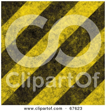 Royalty-Free (RF) Clipart Illustration of a Yellow Background Of Thick Diagonal Black Hazard Stripes And Grunge by Arena Creative