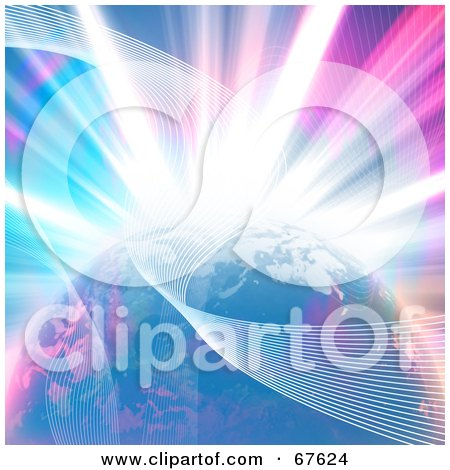 Royalty-Free (RF) Clipart Illustration of a Bright Explosion Behind Waves And Earth by Arena Creative