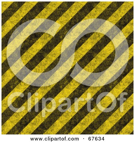 Royalty-Free (RF) Clipart Illustration of a Yellow Background Of Diagonal Black Hazard Stripes And Grunge by Arena Creative