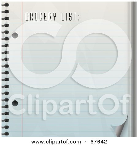 Royalty-Free (RF) Clipart Illustration of a Blank Grocery Shopping List On A Notepad by Arena Creative
