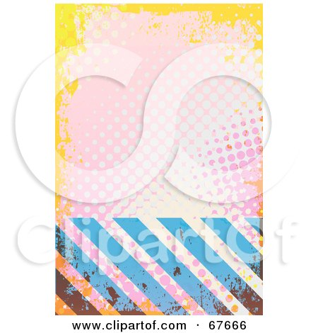 Royalty-Free (RF) Clipart Illustration of Blue Hazard Stripes And Pink And Yellow Halftone by Arena Creative