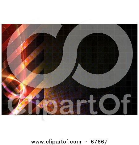 Royalty-Free (RF) Clipart Illustration of a Dark Background Of Hazard Stripes And Fractals by Arena Creative