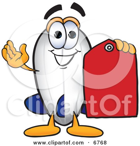 Clipart Picture of a Blimp Mascot Cartoon Character Holding a Red Clearance Price Tag by Toons4Biz