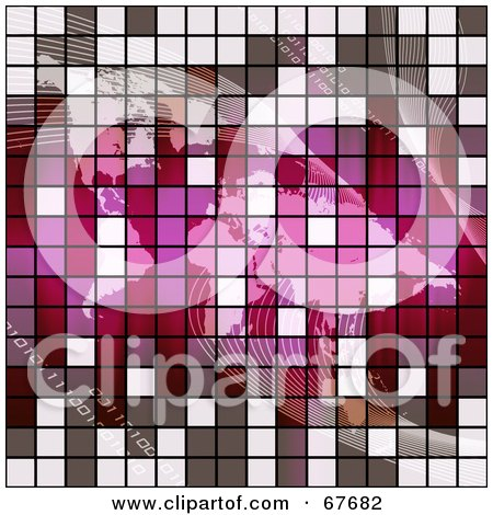 Royalty-Free (RF) Clipart Illustration of a Gray And Pink Tile Textured Atlas With Binary And Waves by Arena Creative