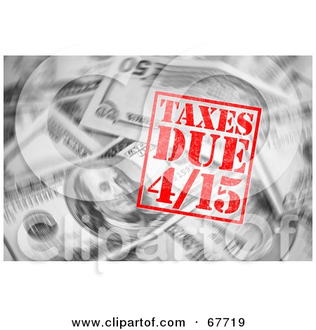 Royalty-Free (RF) Clipart Illustration of a Background Of Swirling Money And A Red Taxes Due Stamp by Arena Creative