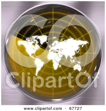 Royalty-Free (RF) Clipart Illustration of a White Map On A Yellow Radar Screen by Arena Creative