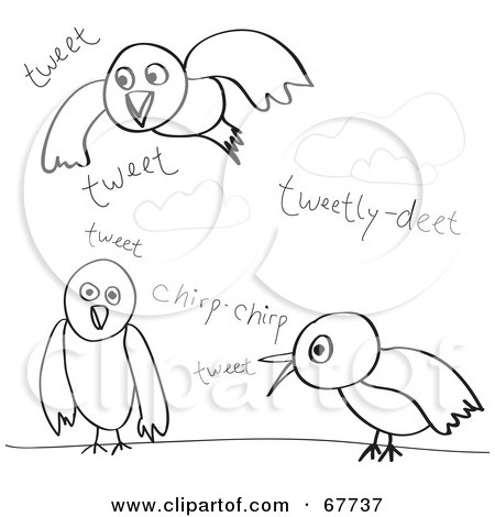 Royalty-Free (RF) Clipart Illustration of a Digital Collage Of Tweeting And Chirping Black Bird Sketches by Arena Creative